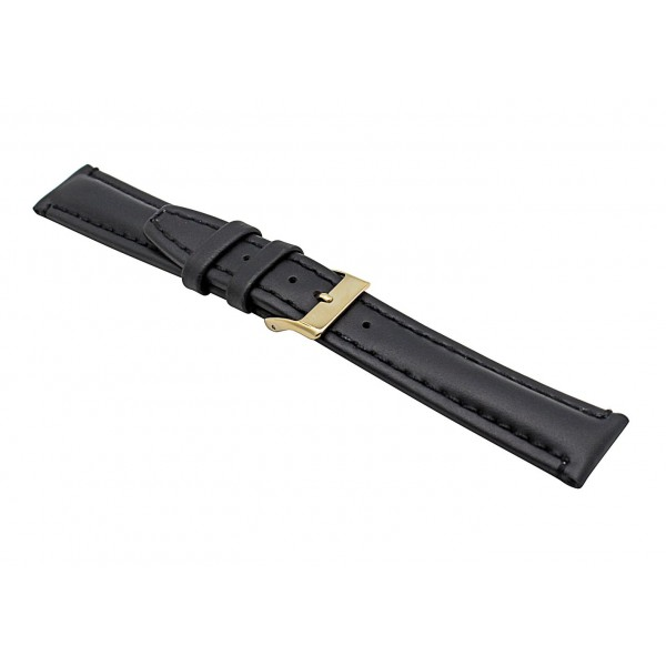 Real Black Oily Leather Strap With Gold Buckle