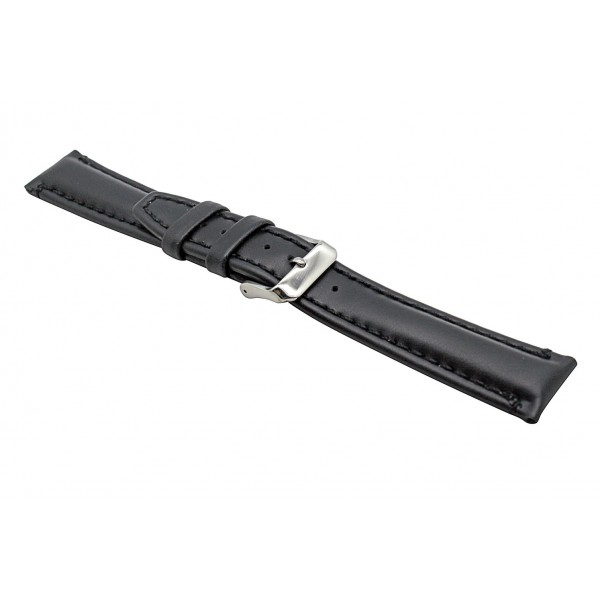 Real Black Oily Leather Strap With Silver Buckle
