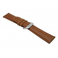 Real Brown Oily Leather Strap With Silver Buckle