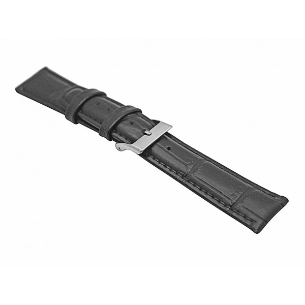 Real Black Bamboo Embossed Leather Strap With Silver Buckle