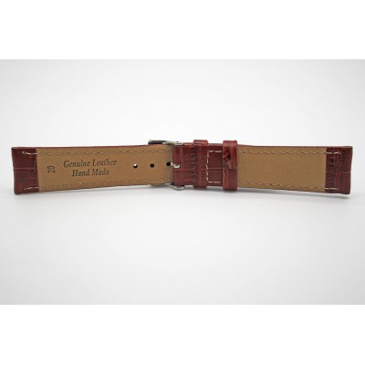 Real Brown Bamboo Embossed Leather Strap With Silver Buckle