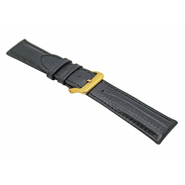 Real Black Lizard Embossed Leather Strap With Gold Buckle