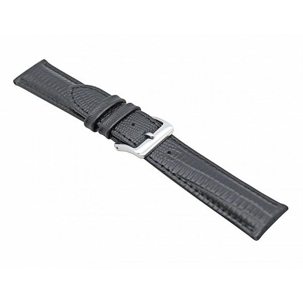 Real Black Lizard Embossed Leather Strap With Silver Buckle