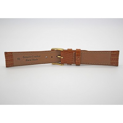 Real Brown Lizard Embossed Leather Strap With Gold Buckle