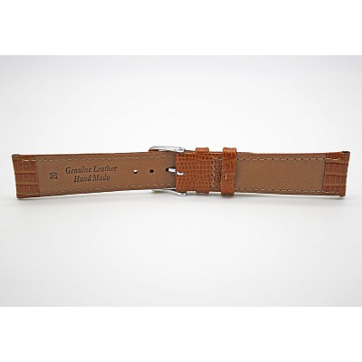 Real Brown Lizard Embossed Leather Strap With Silver Buckle