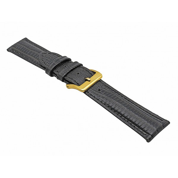 Real Dark Brown Lizard Embossed Leather Strap With Gold Buckle