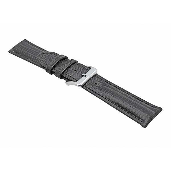 Real Dark Brown Lizard Embossed Leather Strap With Silver Buckle