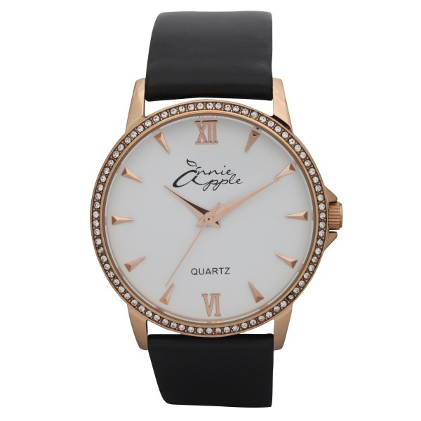 Timeless rose gold and white with black strap
