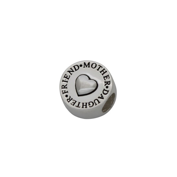 SCH001 - 2.6 Gram Solid 925 Sterling Silver Friend/Mother/Daughter Round Charm Pendant