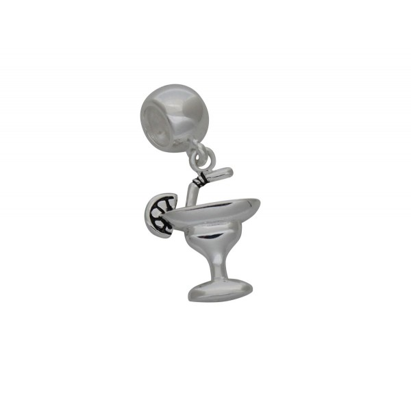 SCH002 - 2.2 Gram Solid 925 Sterling Silver Cocktail Martini Glass Charm Pendant