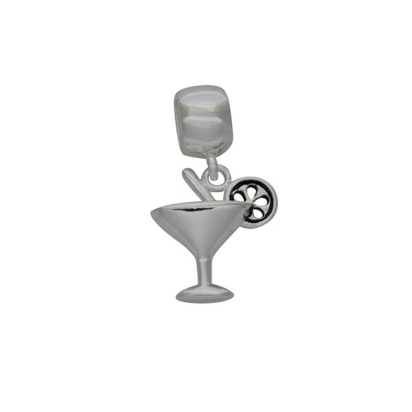 SCH003 - 2.2 Gram Solid 925 Sterling Cocktail Martini Wine Glass Drink Alcohol Charm Pendant