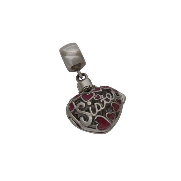 SCH004 - 3.1 Gram Solid 925 Sterling Silver And Pink Dangle Sister Heart Charm Pendant
