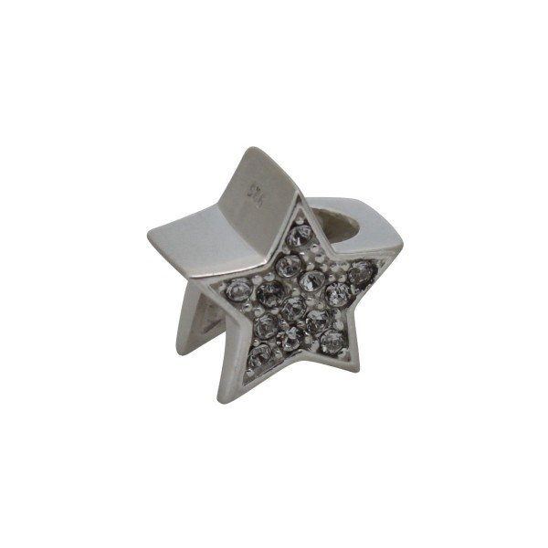 SCH020 - 1.85 Gram Solid 925 Sterling Silver Star Crystal Diamante Gift Present Charm Pendant Bracelet