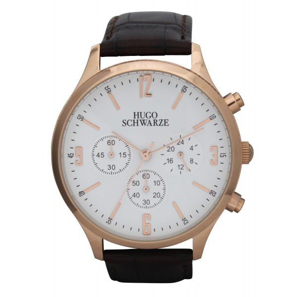 Cassius rose gold and white with brown strap