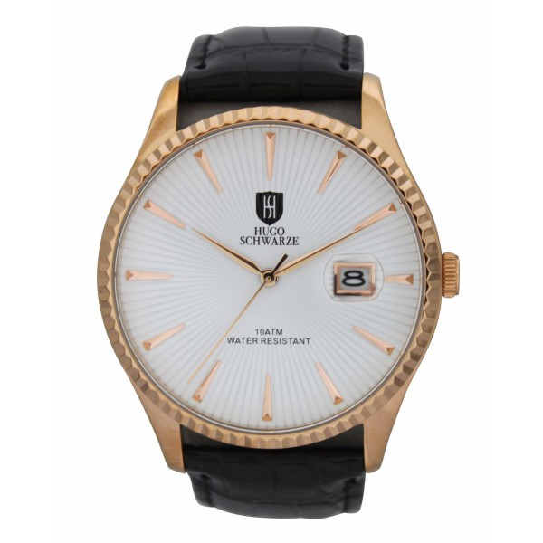 Jaxon gold case white dial black strap