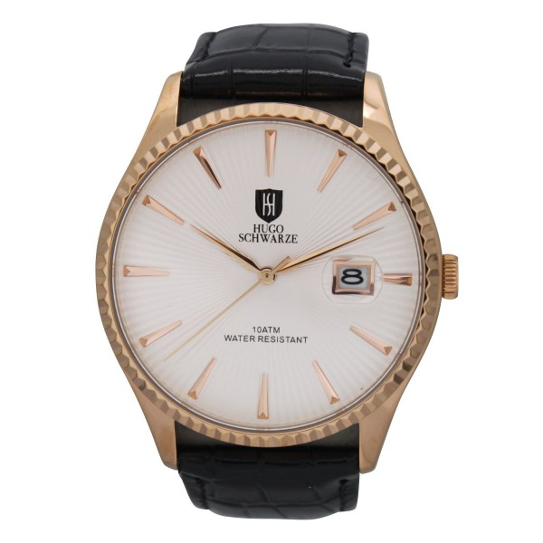Jaxon rose gold case white dial black strap