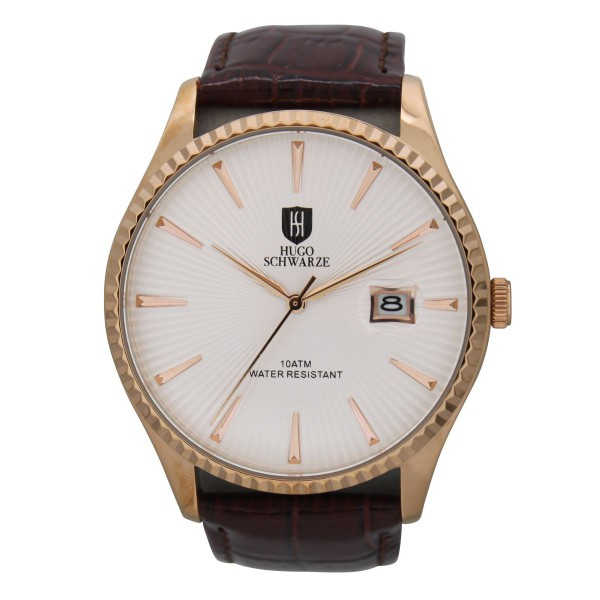 Jaxon rose gold case white dial brown strap